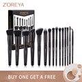 Бренд Zoreya, мягкие синтетические щетинки, набор кистей для макияжа глаз, инструмент для макияжа, жесткость, черный, смешивание, складка, основ...