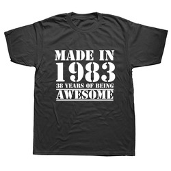 Funny Made In 1983 38 Years of Being Awesome Birthday Print Joke T-shirt Husband Casual Short Sleeve Cotton T Shirts Men