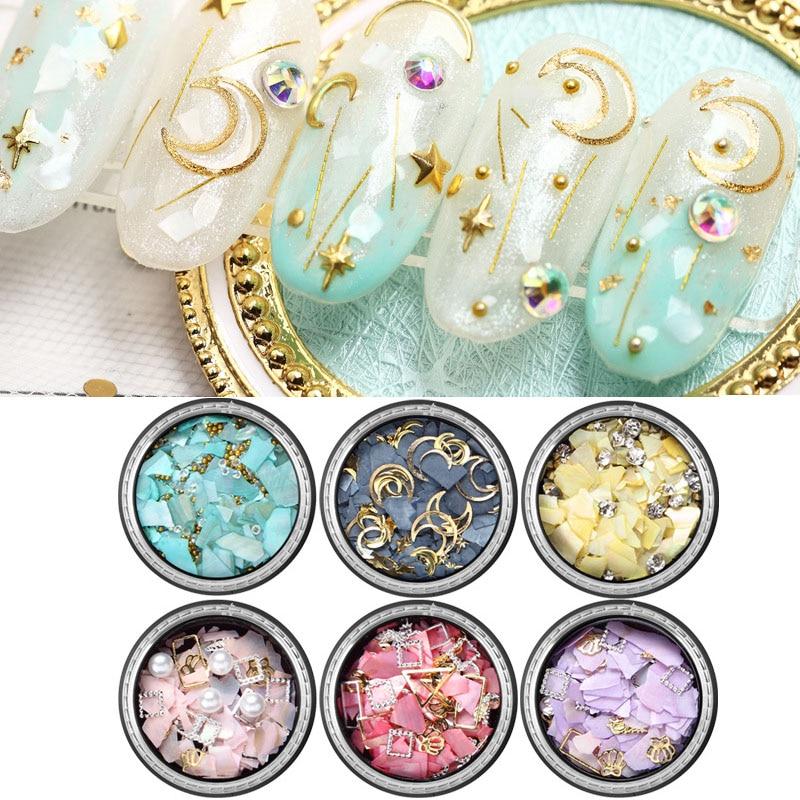 1 коробка красочные нерегулярные блестки украшения для ногтей искусство DIY маникюр Шарм 3D Луна Звезда бриллианты украшения ногтей советы