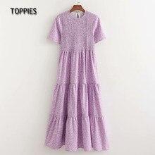 Toppies – robe Maxi imprimée marguerite violette pour femme, tenue Slim à volants en cascade, été