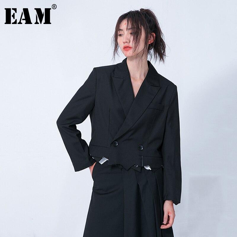 [EAM] Свободная черная короткая куртка с разрезом, новая женская куртка с отворотом и длинным рукавом, модное весеннее пальто 2020 1N701