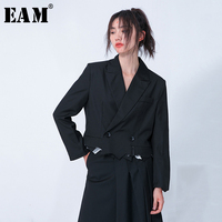 [EAM] Loose Fit Black Brief Burr Split Joint Short Jacket New Lapel Long Sleeve Women Coat Fashion Tide Spring 2020 1N701