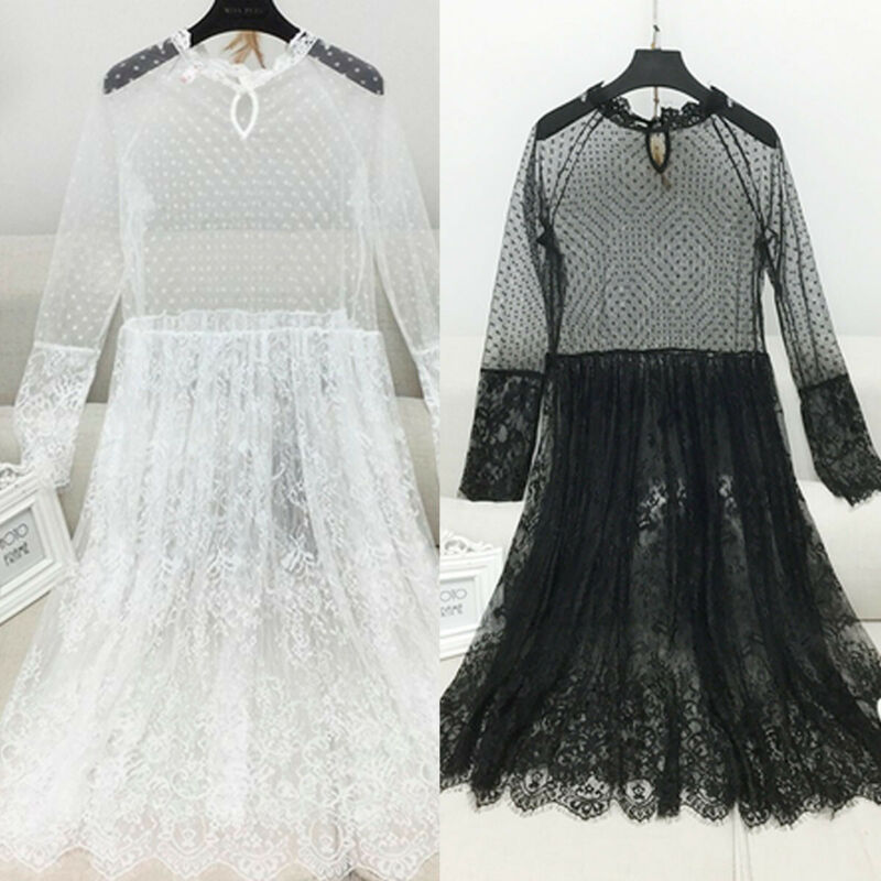 Women Dresses Elegant Office Lady Lace Midi Dress Vintage Mesh Sheer Party Dress Long Sleeve Perspective See Through Clothes