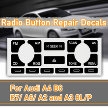 1set Car AS/TP Multimedia Radio Stereo Worn Peeling Button Repair Decals Stickers For