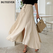 BGTEEVER Casual Single-breasted Cotton and Linen Midi Skirts for Women Summer Ir
