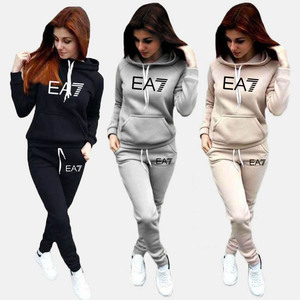 2020 New Fashion Tracksuit Long Sleeve Thicken Hooded Sweatshirts 2 Piece Set Casual Sport Suit Women Tracksuit Set