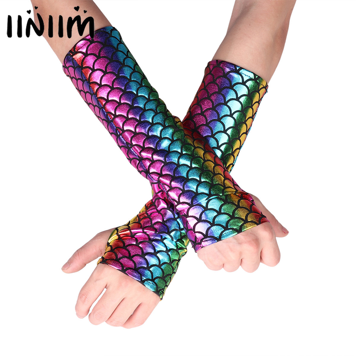 Iiniim Adult Mermaid Fish Scale Pattern Dance Clubwear Fingerless Long Gloves Arm Sleeves Adult Halloween Costume Accessories