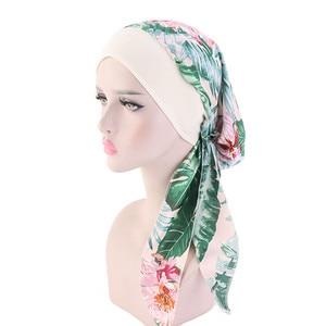 Image 4 - Women Printed Silky Turban Muslim Pre Tied Hijabs Long Tail Bow Head Scarf Ready To Wear Wide Band Elastic Bandana Headwear