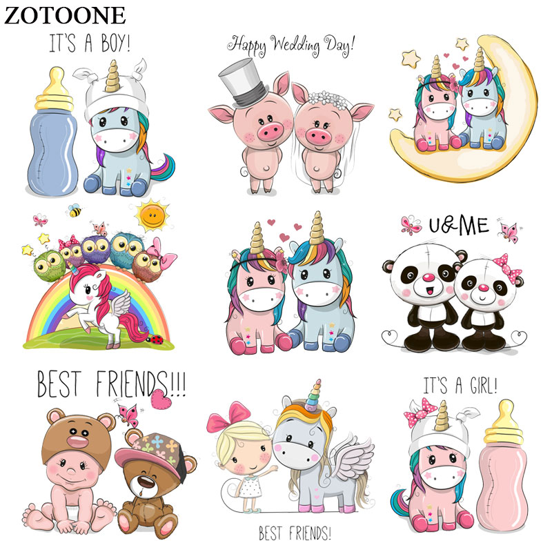 ZOTOONE Cute Animal Unicorn Pig Patch Iron on Transfers for Clothing Applications DIY T shirt Heat Transfers Appliques Sticker E in Patches from Home Garden