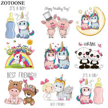 ZOTOONE Cute Animal Unicorn Pig Patch Iron on Transfers for Clothing Applications DIY T-shirt Heat Appliques Sticker E