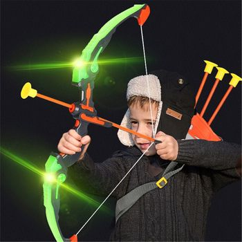 1Set  Light Up Archery Bow and Arrow Toy Set for Boys Girls With 3 Suction Cup Arrows, Target, Quiver - discount item  18% OFF Outdoor Fun & Sports
