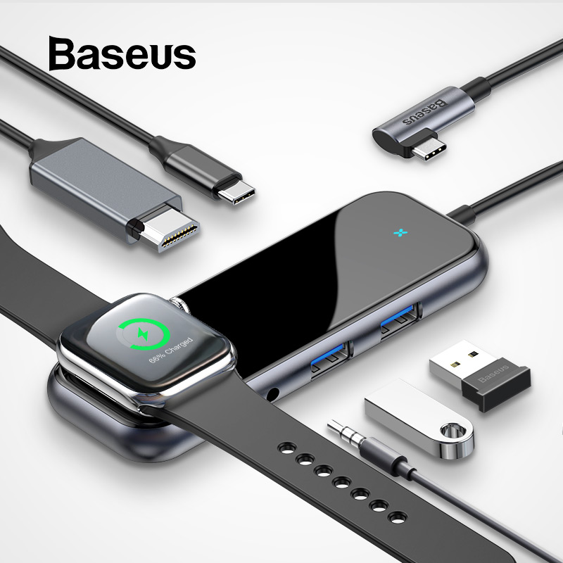 Baseus Multi USB Type C HUB To 3.0 HDMI RJ45 USB HUB For MacBook Pro USB C HUB For IWatch Wireless Charge Adapter USB Splitter