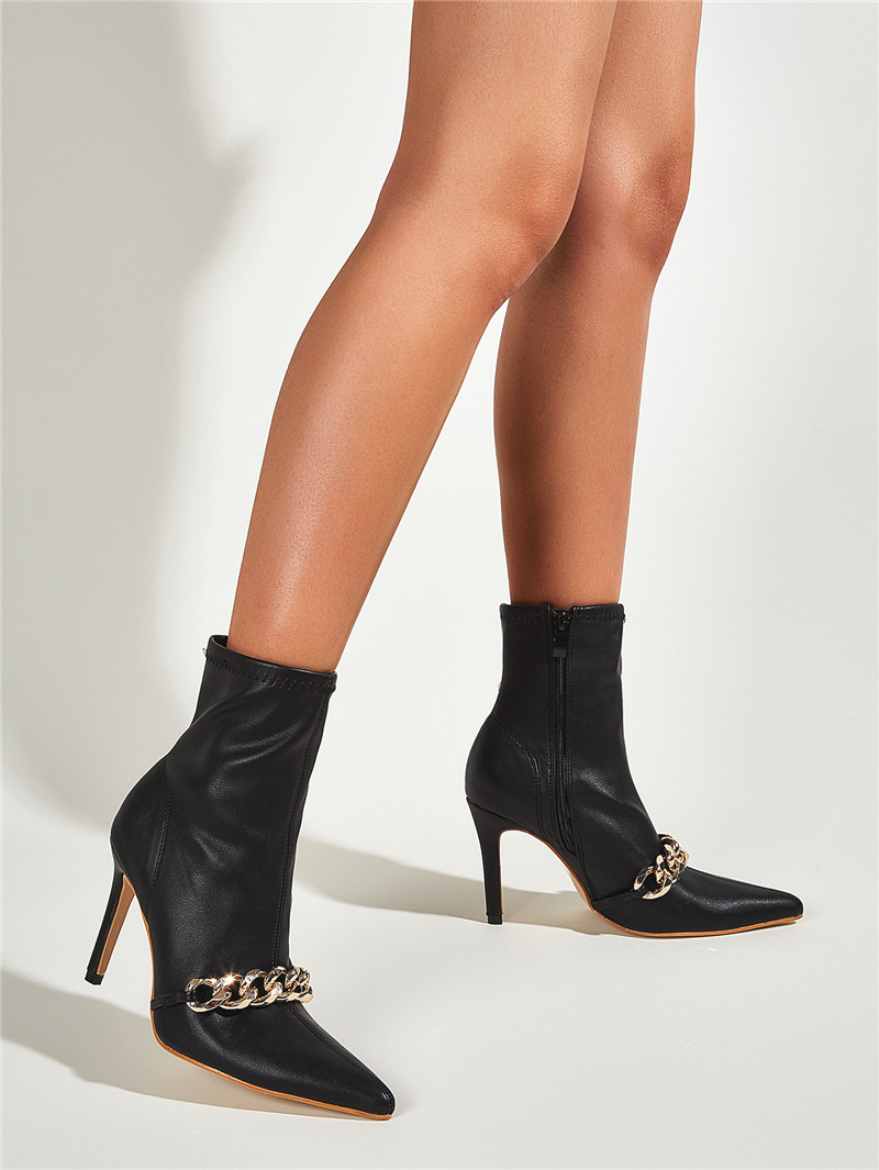 Ellyken novo preto tornozelo zíper botas curtas