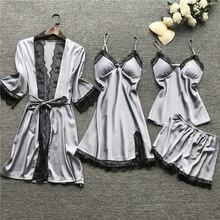 Womens Pajamas Summer Sexy Silk Pyjama Satin Pijama Set Women Sleepwear Lingerie 4 Pcs Sets Home Wear Femme Night Suits