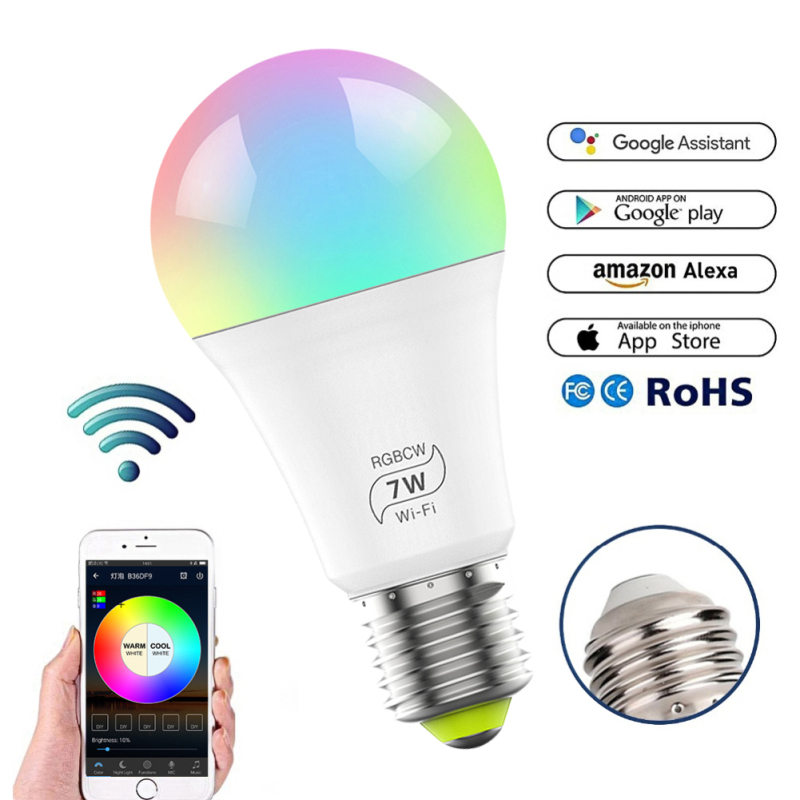 Nexlux Wifi Smart LED Bulb E27 7W Dimmable RGB Multicolor Wake-Up Lights Work With Alexa And Google Assistant Voice Control