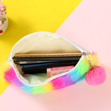 Nieuwe Mode Regenboog Pluche Etui Schoolbenodigdheden Multicolor Briefpapier Bal Gift Leuke Cosmetische Make-up Tas Beauty Case Pouch(China)
