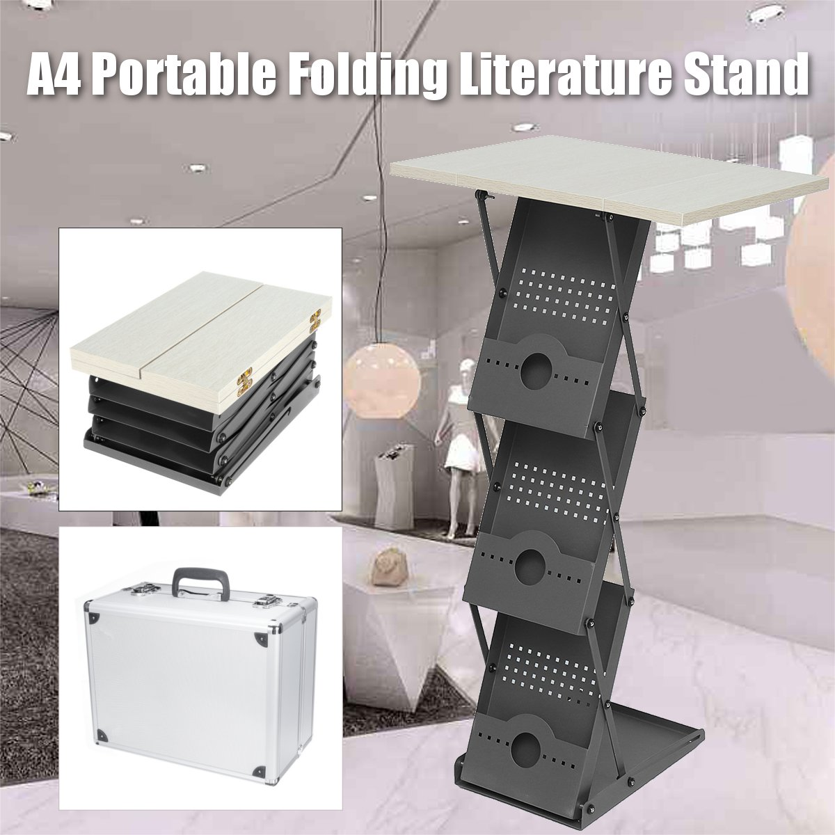 A4 Portable Literature Stand Laptop Desk Folding Exhibition Stand Floor Magazine Brochure Display Library Furniture Storage Box