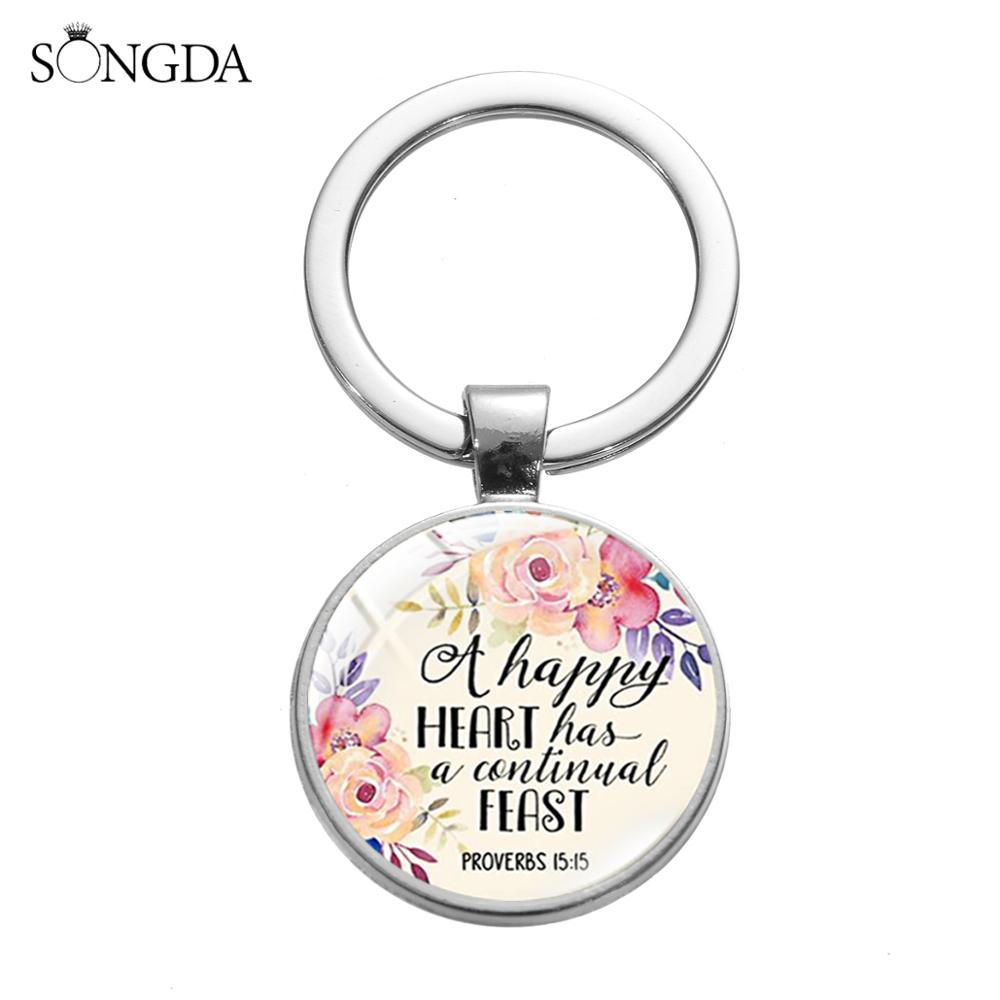 Christian Bible Verses Keychain A Happy Heart Has A Continual Feast Proverbs 15:15 Scripture Quote Keyring Gift for Women