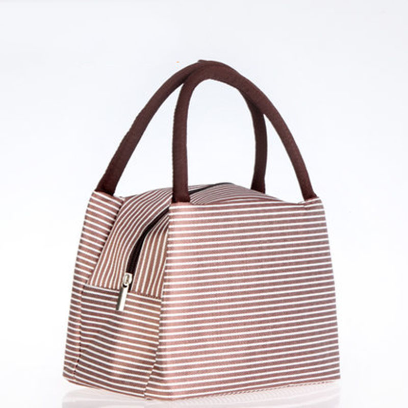 Insulated Lunch Bag Striped Portable Picnic Box Tote For Women Men Travel Organizers Food Insulated Storage Bags Cooler Bag