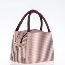 Insulated Lunch font b Bag b font Striped Portable Picnic Box Tote For Women Men Travel