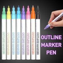Stylo Double ligne, stylo marqueur à paillettes 8 couleurs stylos fluorescents pour l'écriture de carte-cadeau, dessin, artisanat d'art bricolage