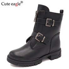 Cute eagle Autumn&Winter Mid-Calf Girl Boots for Kids Cotton-Padded Pu Leather Shoes Girls Fashion Motor with Buckles