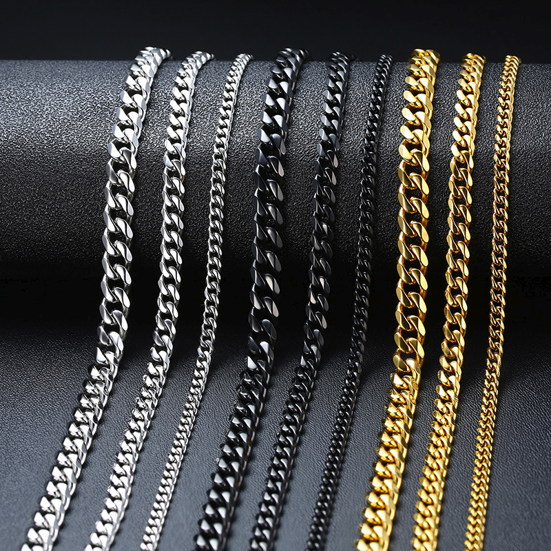 Vnox Basic Punk Stainless Steel Necklace For Men Women Curb Cuban Link Chain Chokers Vintage Silver Black Gold Tone Solid Metal