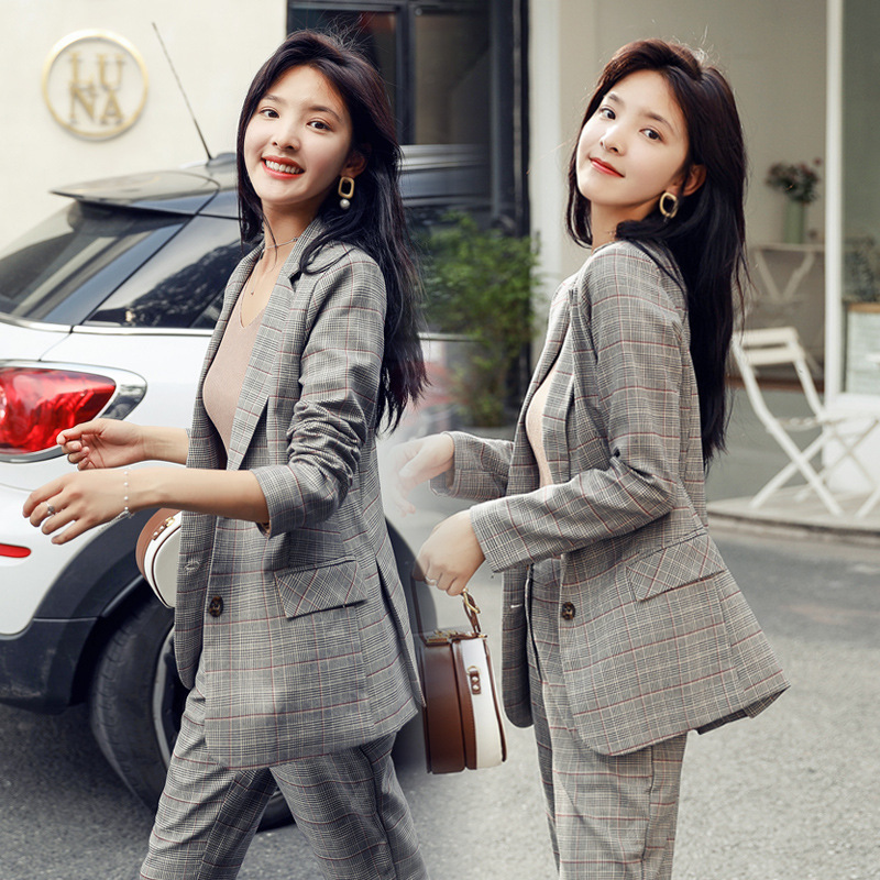 Plaid Suit Jacket High-waisted Loose Pants Women's Fashion Set Casual 2019 Spring And Autumn New Style British-Style Two-Piece S