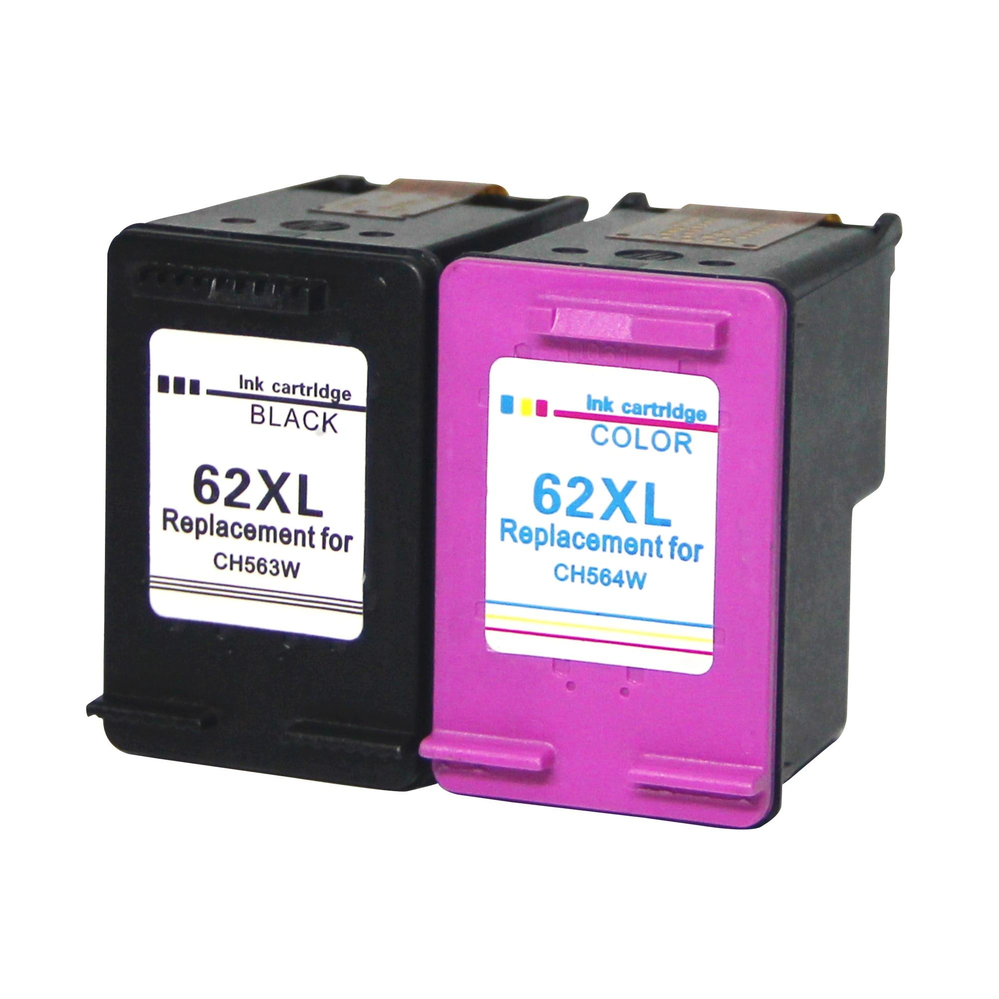 Remanufacturados HP 62XL HP 62 XL Alta Capacidad Cartuchos de Tinta Paquete de 2 (1 Negro 1 Tricolor) C2P05AN/C2P07AN Compati