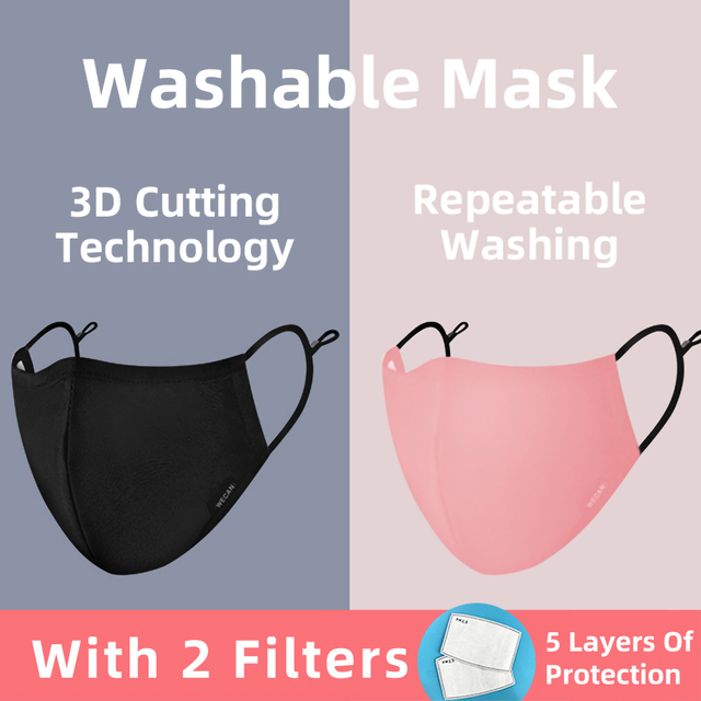 Korean Reusable Washable Mouth Face Masks Man For Germ Protection Anti-Pollution Dustproof Cotton Fabric Face Mask With Filters