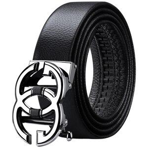 Image 2 - WilliamPolo Cinturón de cuero de grano completo para hombre, cinturones de cuero genuino de alta calidad para hombre, correa de Metal con hebilla automática