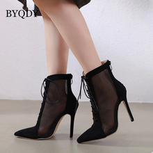 BYQDY Fashion Woman Ankle Boots Hollow Out Mesh High Heels Shoes Women Lace Up Pointed Toe Sexy Boots botas mujer Size 35-40 цена 2017