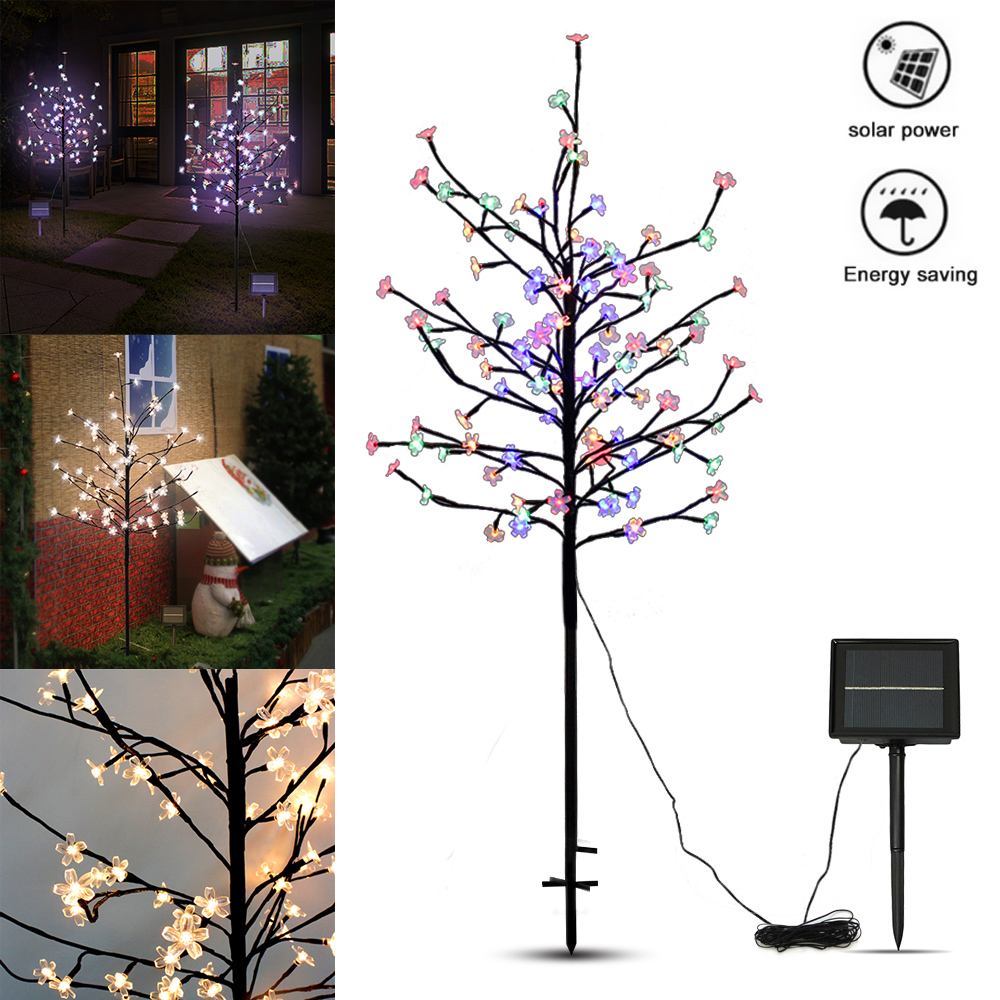 Waterproof <font><b>1.5M</b></font> 104 <font><b>LED</b></font> Solar Cherry Tree Lights for Outdoor Garden Patio Party Wedding Christmas Tree Lights Decoration Lamp image