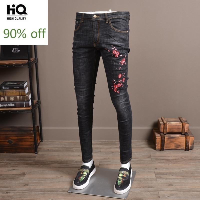 Mens Wear 2020 Spring Hot Fashion Jeans Embroidery Full Length Mid Waist Male Pants Harajuku Casual Slim Fit Denim Trouser Men