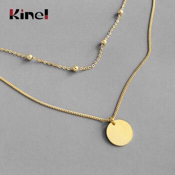 цена Kinel Double Chain Sequin Choker Necklace Women 2020 New Trend 100% 925 Sterling Silver Lady Fashion 18K Gold Jewelry онлайн в 2017 году