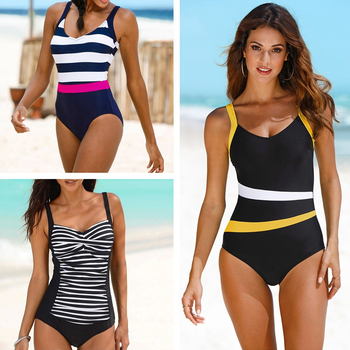 2020 New One Piece Swimsuit Plus Size Swimwear Women Classic Vintage Bathing Suits Beachwear Backless Slim Swim Wear M~2XL 1