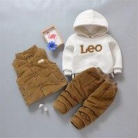 Newborn Baby Girls Winter Clothes Cartoon Fleece Vest Sweatshirt Pants 3pcs Infant Baby Boys Clothing Set Kids Clothes Tracksuit