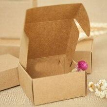 30 шт 5,5*5,5*2,5 см коричневая подарочная упаковка крафт-бумага коробка для ювелирных изделий \ свадьбы \ конфет \ рукоделия \ торта \ мыла ручной работы упаковочные коробки