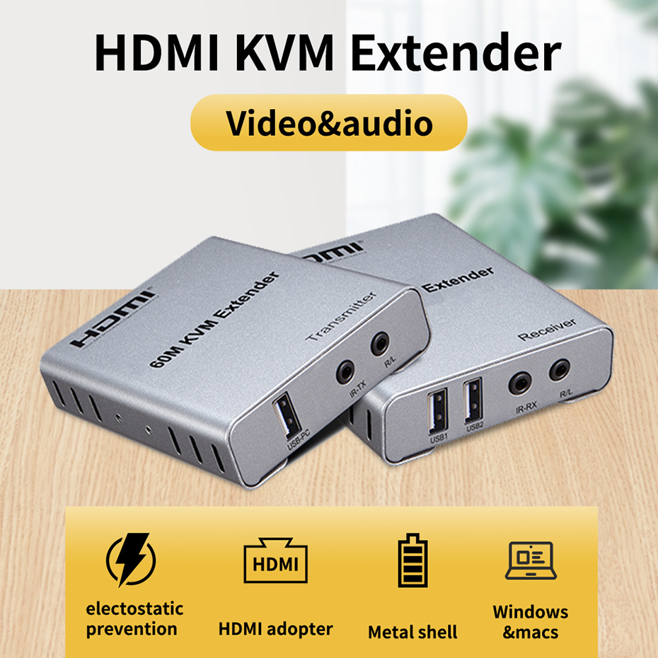 HDMI KVM extender over cat5/6 ethernet cable HDMI KVM switch HDMI USB HDMI extender KVM with mouse&keyboard port up to 60m