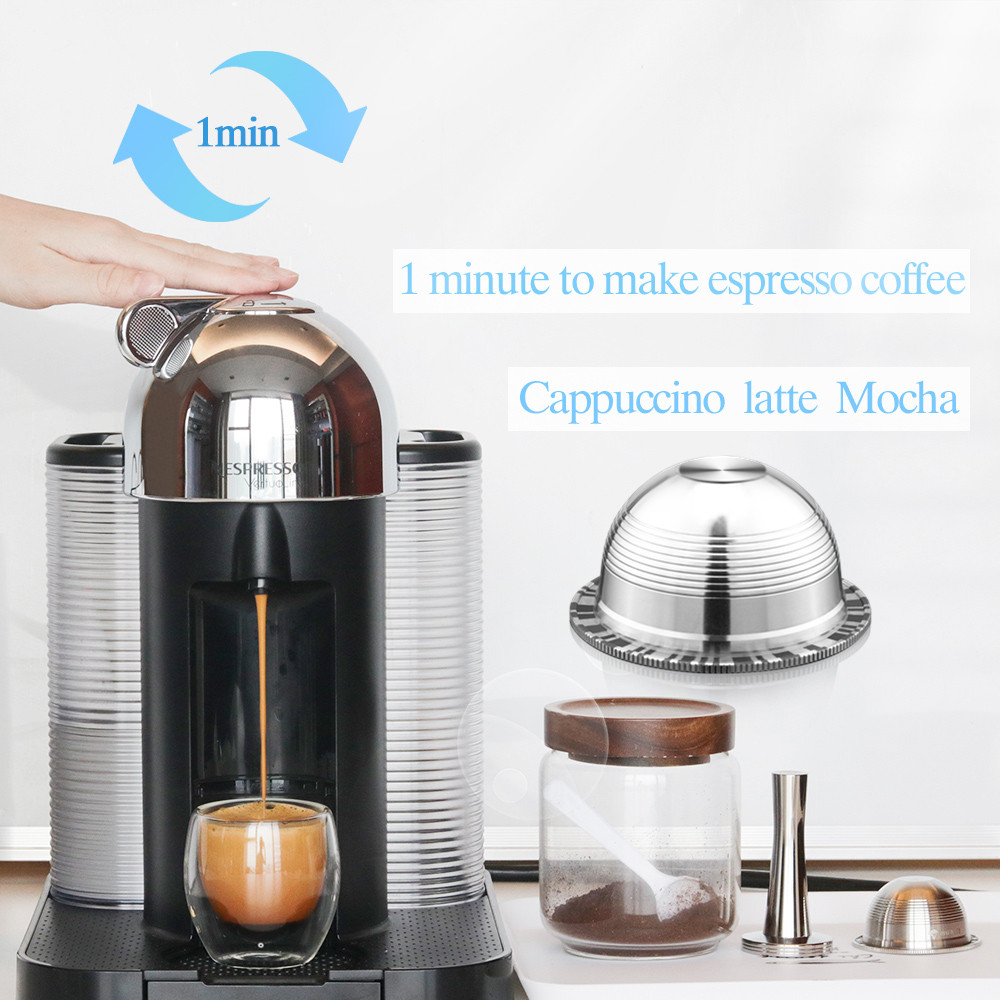 Reusable Vertuo Coffee Filters For Nespresso Vertuoline GCA1 & Delonghi ENV135 Refillable Stainless Steel Coffee Capsule Pod
