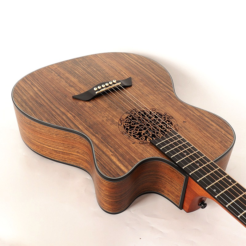 Flower Sound Hole Spruce Wood Top Electric Acoustic Guitar With EQ 40 Inch Folk Guitar For Beginner Or Middle-grade Player