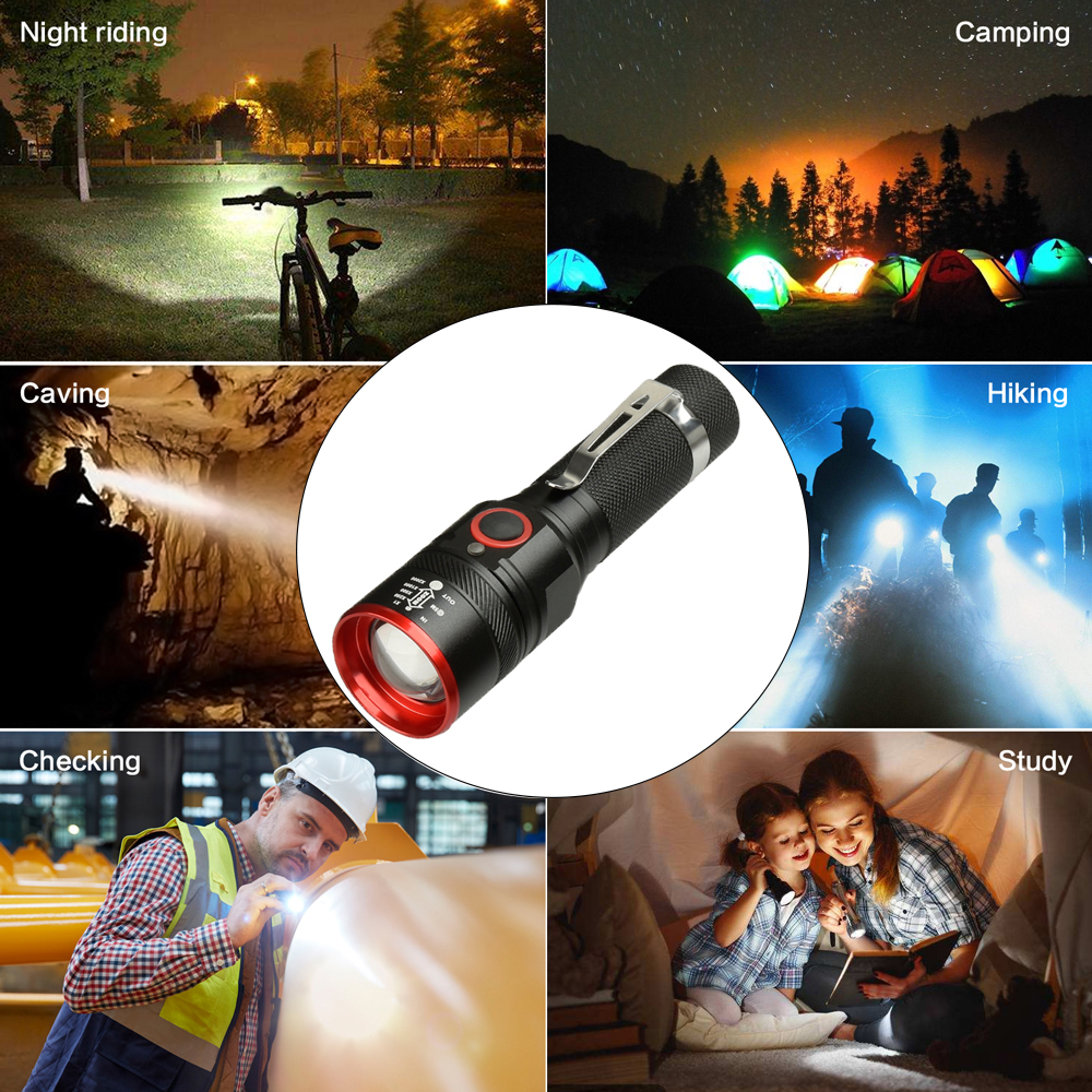 Купить с кэшбэком Waterproof 5200LM USB Rechargeable Flash light XML-T6 Led Flashlight Zoomable 3 modes torch for 18650 with USB cable Camping z40