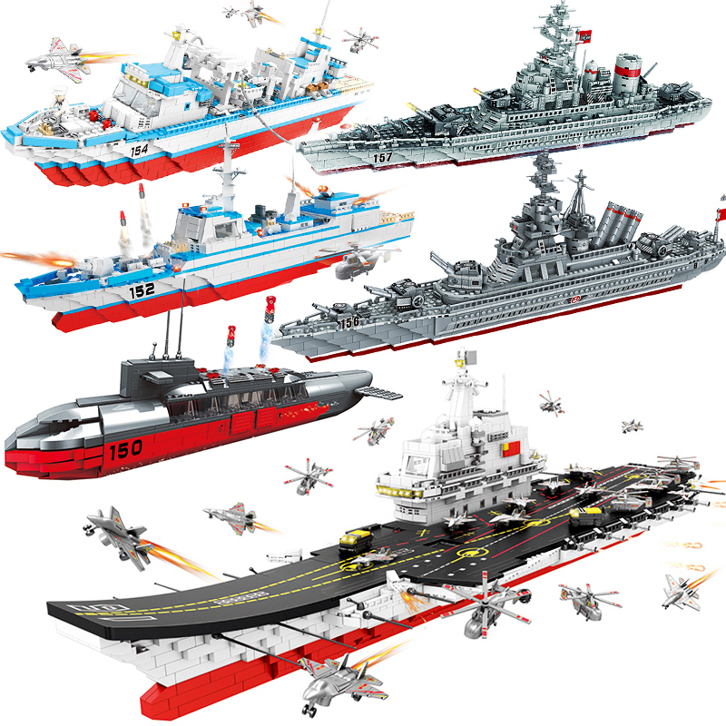 Military Navy Submarine Compatible ed Naval Ship Aircrafted Carrier Warship Battleship Model Building Blocks Bricks kid Toys