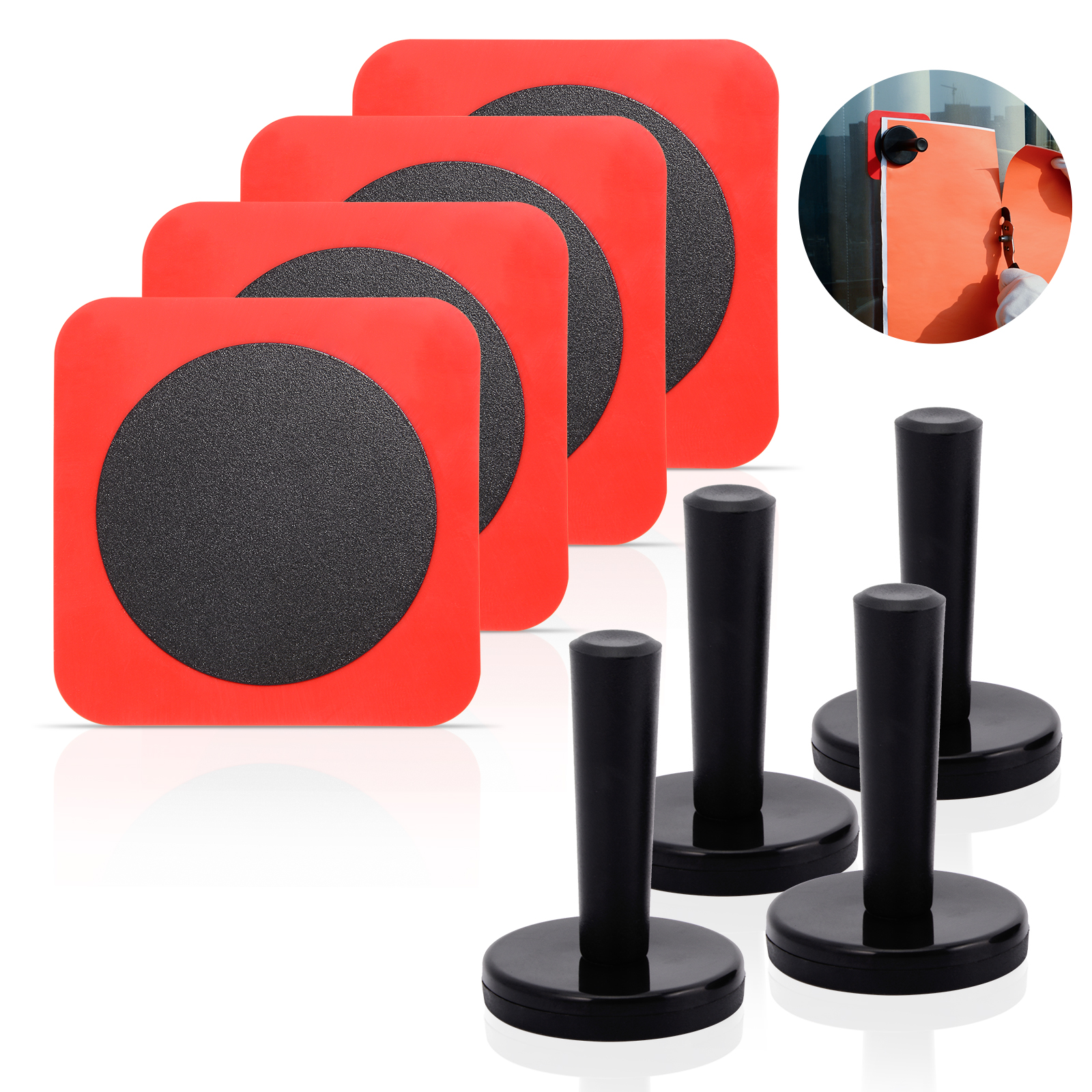 EHDIS Car Window Tinting Silicone Metal Adsorptive Sheet+Magnet Holder Fixer Carbon Film Sticker Fix Tool Car Tuning Accessories