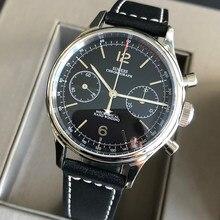 Cronógrafo mecânico gaivota st1901 movimento piloto relógio masculino 38mm 40mm safira gooseneck relógios masculino 2021 montre homme 1963