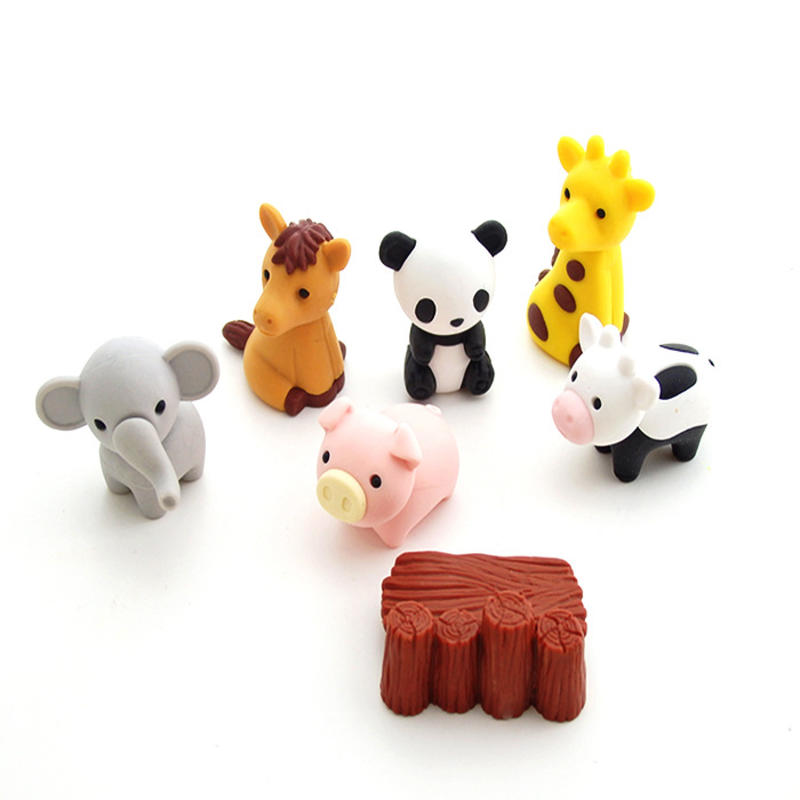 Creative Cute Rubber Animal Eraser Individually Packed Removable Rubber Eraser For Kids Gift Student Learning Office Stationery
