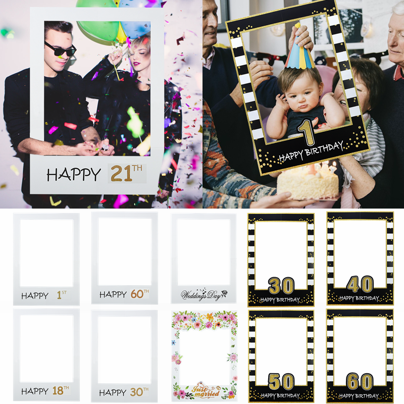 1pc 48*68cm Photo Booth Frame Props Kids Adult <font><b>Birthday</b></font> for 1st 21th 30th 40th <font><b>60th</b></font> Photo Prop Supplies Wedding Party <font><b>Decoration</b></font> image