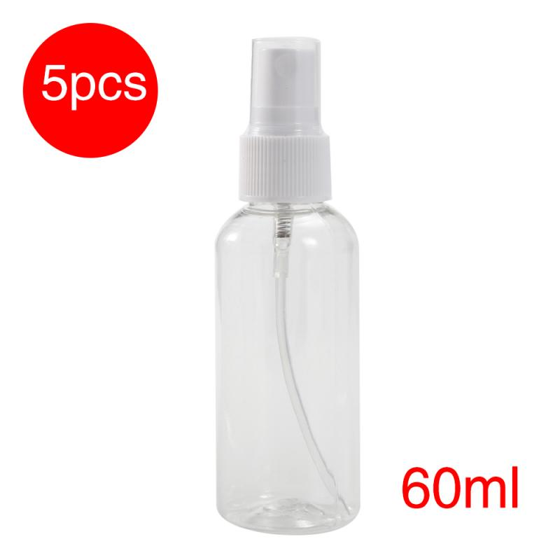 5pcs 60ml Portable Travel Transparent Plastic Perfume Atomizer Empty Spray Middle Size Sample Press Bottle Cosmetic Makeup Tools