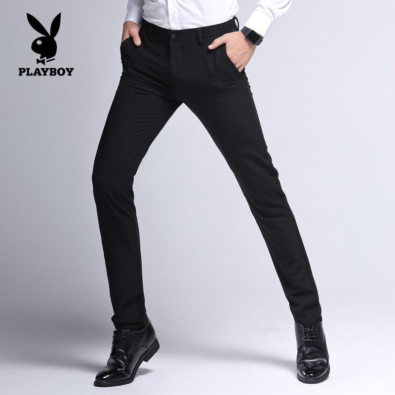 PLAYBOY Men Business Casual-Pure Cotton Elasticity Straight-Cut Casual Trousers Suit Pants Mid-rise Pants Men's