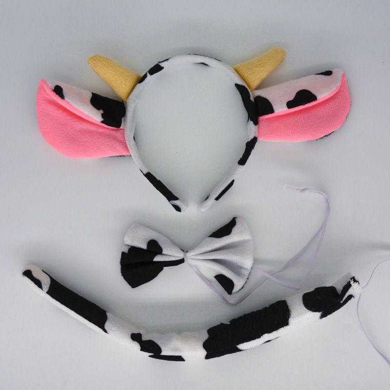 Kids Adult Milk Dairy Cattle Cow Animal Ears Headband Bow Tie Tail Halloween Costume Props Birthday Party Wedding Baby Shower